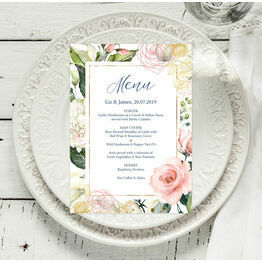 White, Blush & Rose Gold Floral Menu