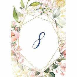 White, Blush & Rose Gold Floral Table Number