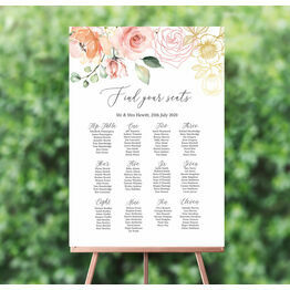 White, Blush & Rose Gold Floral Wedding Seating Plan