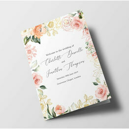 White, Blush & Rose Gold Floral Wedding Order of Service Booklet