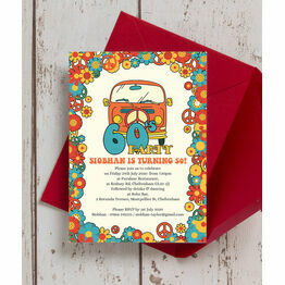 1960s Hippie 50th Birthday Party Invitation