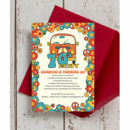 1970s Hippie 30th Birthday Party Invitation