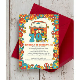 1970s Hippie 70th Birthday Party Invitation
