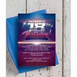 Retro SciFi 18th Birthday Party Invitation