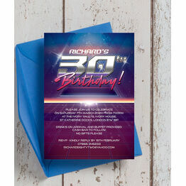 Retro SciFi 30th Birthday Party Invitation