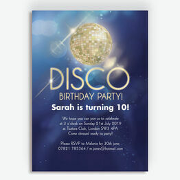 Disco Party Birthday Invitation