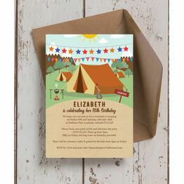 Camping 18th Birthday Party Invitation