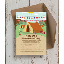 Camping 21st Birthday Party Invitation
