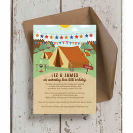 Camping 30th Birthday Party Invitation