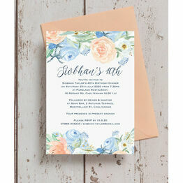 Peach Blue Floral 40th Birthday Party Invitation