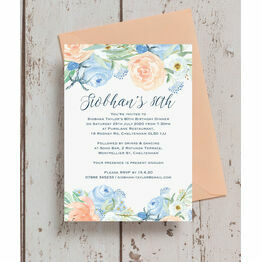 Peach Blue Floral 80th Birthday Party Invitation