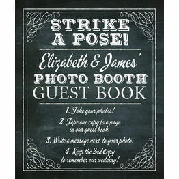 Chalkboard Wedding Photo Booth Guest Book Poster