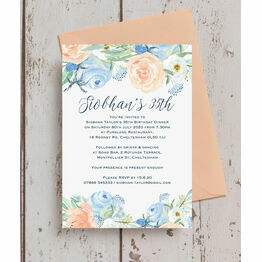 Peach Blue Floral Birthday Party Invitation