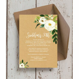 Cream Flowers 30th Birthday Party Invitation