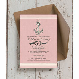 Pink Nautical / Sailing 50th Birthday Party Invitation