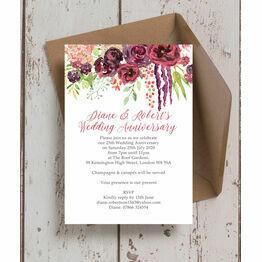 Burgundy Floral 25th / Silver Wedding Anniversary Invitation