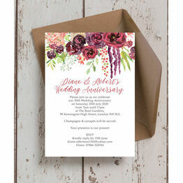 Burgundy Floral 30th / Pearl Wedding Anniversary Invitation