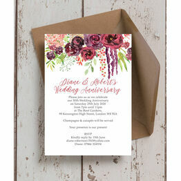 Burgundy Floral 50th / Golden Wedding Anniversary Invitation