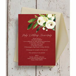 Red & Cream Flowers 40th / Ruby Wedding Anniversary Invitation