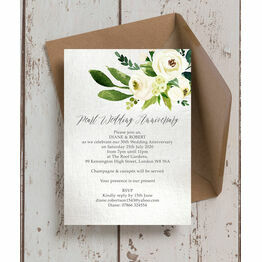 Cream Flowers 30th / Pearl Wedding Anniversary Invitation