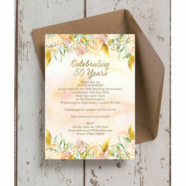 Gold Floral 50th / Gold Wedding Anniversary Invitation