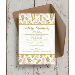 Blush Gold Leaves 25th / Silver Wedding Anniversary Invitation