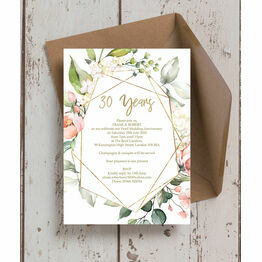 Floral & Gold Frame 30th / Pearl Wedding Anniversary Invitation