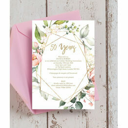Floral & Gold Frame 50th / Gold Wedding Anniversary Invitation