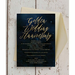 Starry Night 50th / Gold Wedding Anniversary Invitation