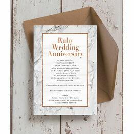Marble Copper 40th / Ruby Wedding Anniversary Invitation