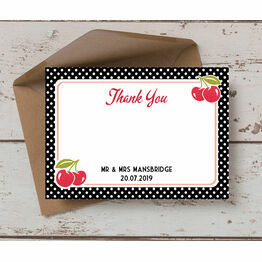 Retro Cherry Rockabilly Thank You Card