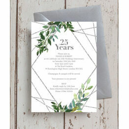 Geometric Greenery 25th / Silver Wedding Anniversary Invitation