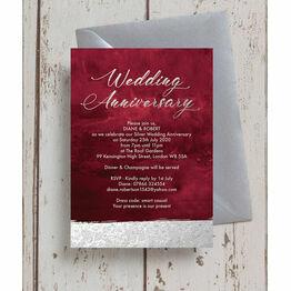Burgundy & Silver 25th Wedding Anniversary Invitation