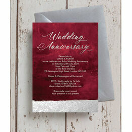 Burgundy & Silver 40th / Ruby Wedding Anniversary Invitation