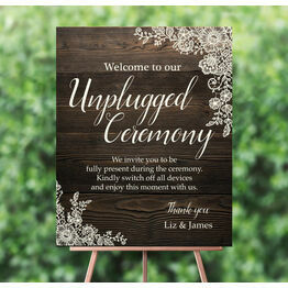 Rustic Wood & Lace 'Unplugged Wedding Ceremony' Sign