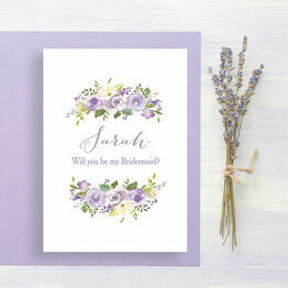 Lilac Flowers 'Will You Be My Bridesmaid' Card