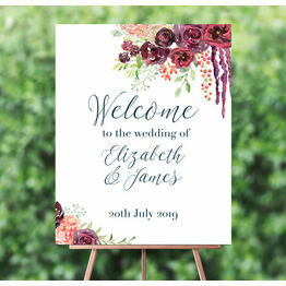 Burgundy Floral Wedding Welcome Sign