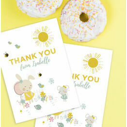 Bunny & Mouse Personalised Thank You Card