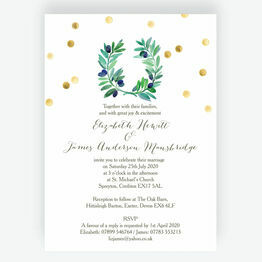 Olive Wreath Wedding Invitation