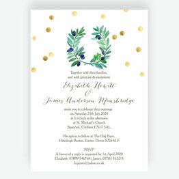 Olive Wreath Wedding Invitation