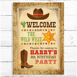 Cowboy / Wild West Children's Party Sign