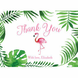 Tropical Flamingo Personalised Thank You Card