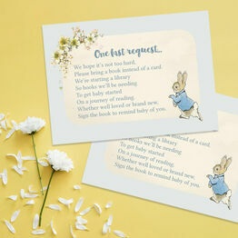Peter Rabbit Christening / Baby Shower Book Request Card