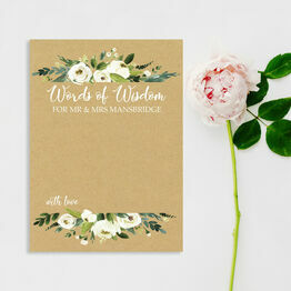 Cream Flowers Words of Wisdom Wedding Card