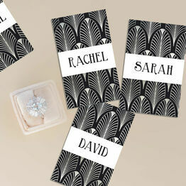 Black & Silver Art Deco Personalised Name Cards