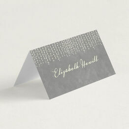 Dove Grey Fairy Lights Folded Wedding Place Cards
