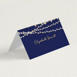 Navy Blue & Gold Fairy Lights Folded Wedding Place Cards