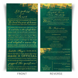 \'Our Love Story\' Emerald & Gold Wedding Invitation