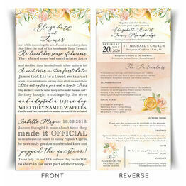 \'Our Love Story\' Gold Floral Wedding Invitation