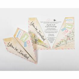 Pastel Coloured Airmail Paper Airplane Wedding Invitation
